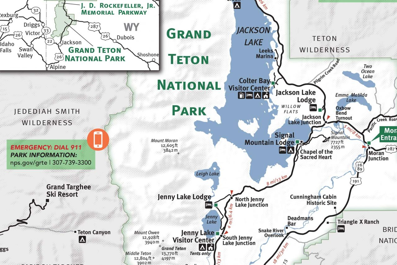 Grand Teton & Yellowstone National Park Map - Jackson Hole ... on map of aspen, map of teton range, map of yellowstone, map of mt. mckinley, map of capitol reef, map of jasper, map of isle royale, map of denali, map of teton mountains, map of kobuk valley, map of san juan mountains, map of niagara falls, map of mt. rainier, map of travel, map of salt lake city, map of sangre de cristo mountains, map of north cascades, map of snow, map of titicaca, map of wyoming,