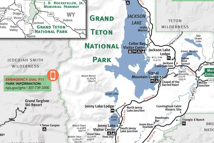 Grand Teton Yellowstone National Park Map Jackson Hole
